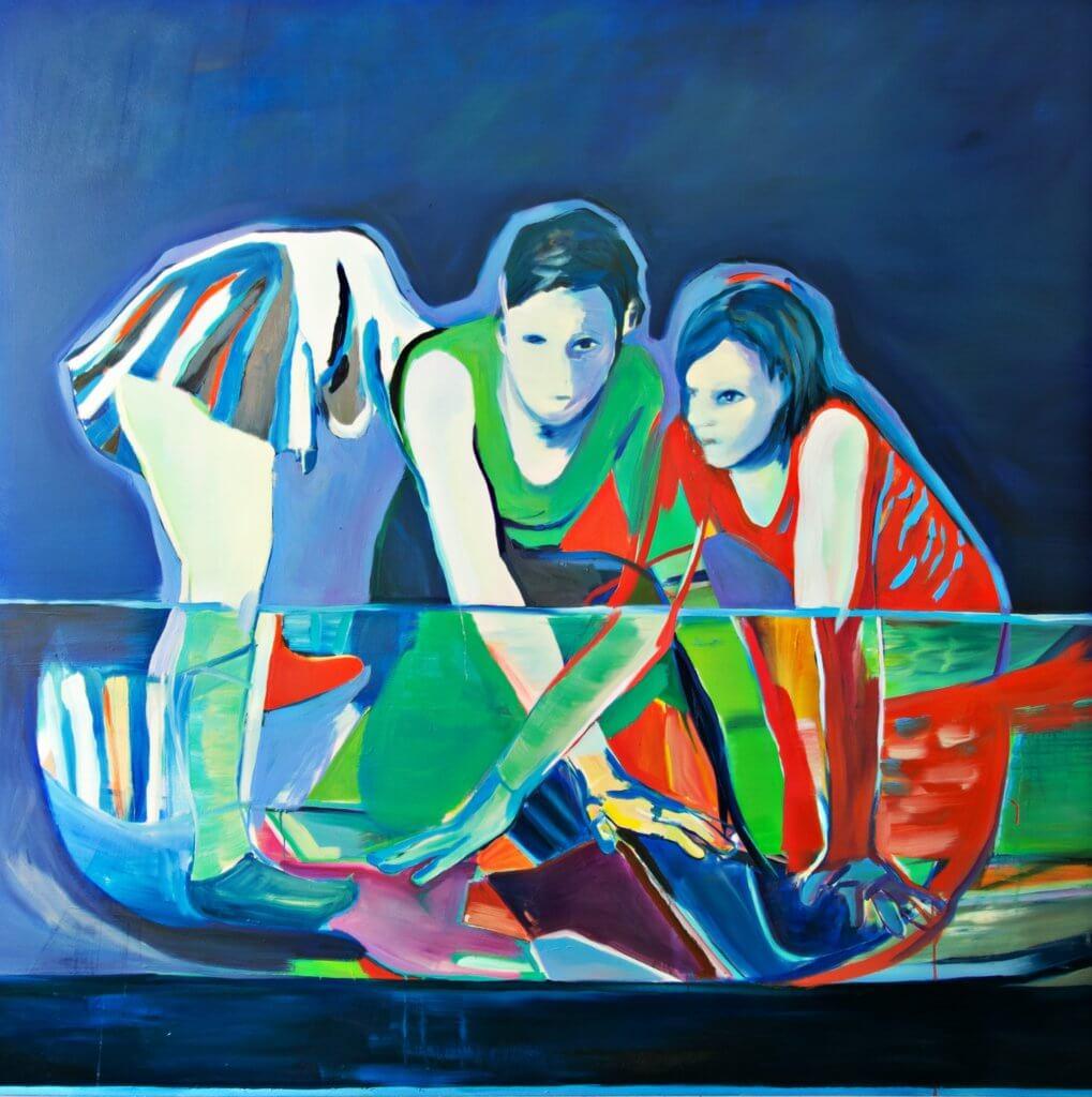 Julia Schmalzl: Ohne Titel (Drei), 2018, Öl auf Leinwand, 180 x 180 cm