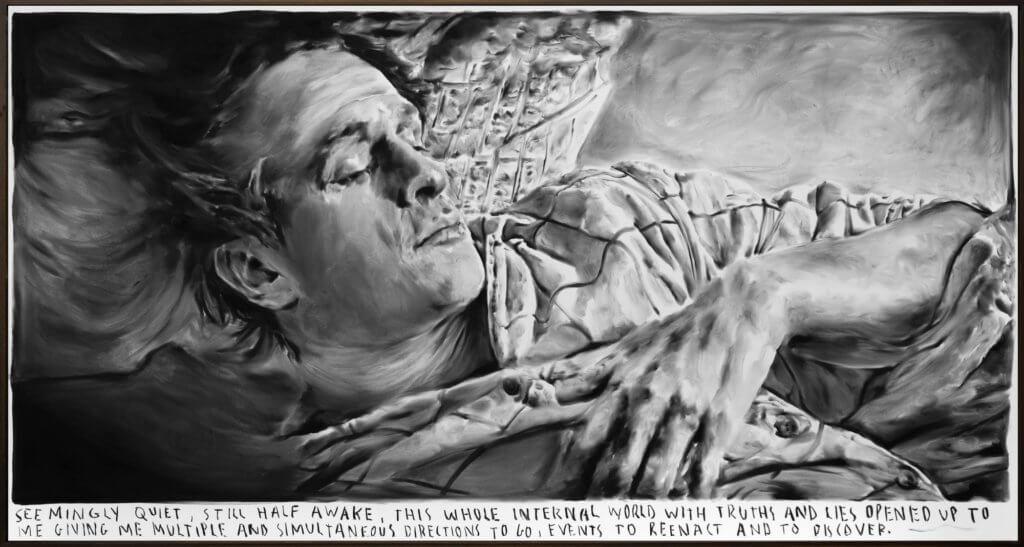 "Rinus Van de Velde: ""Seemingly quiet, still half awake, ..."", 2018, Kohle auf Leinwand, Künstlerrahmen, 105 x 200 cm. Courtesy KÖNIG GALERIE, Berlin/London"