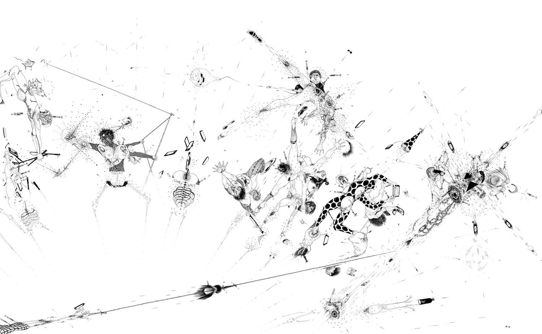Ralf Ziervogel, Nach 20 Uhr noch weggehen, 2017 (Detail), Ink on paper, 140 cm x 276 cm, Courtesy Ralf Ziervogel, Foto: Werner Hettler © Ralf Ziervogel/VG Bild-Kunst Bonn 2018