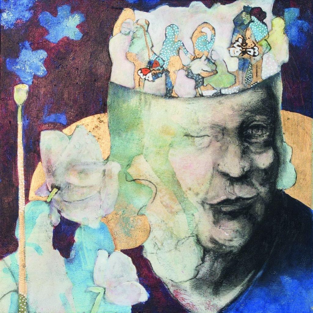 Jana Osterhus: Nachtkerzen, Acryl auf Leinwand, 40x40 cm, 2015