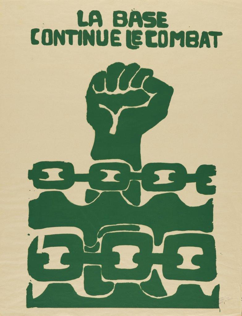 Atelier Populaire, La base continue le combat, 1968, Siebdruck, 65,4 x 50 cm, Museum für Kunst und Gewerbe Hamburg
