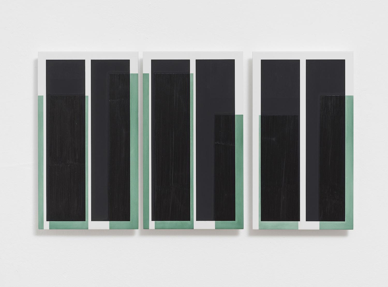 One-Night-Stand III (Atramentum), 2018, Öl auf Aluminium, dreiteilig, je 32 x 18 cm