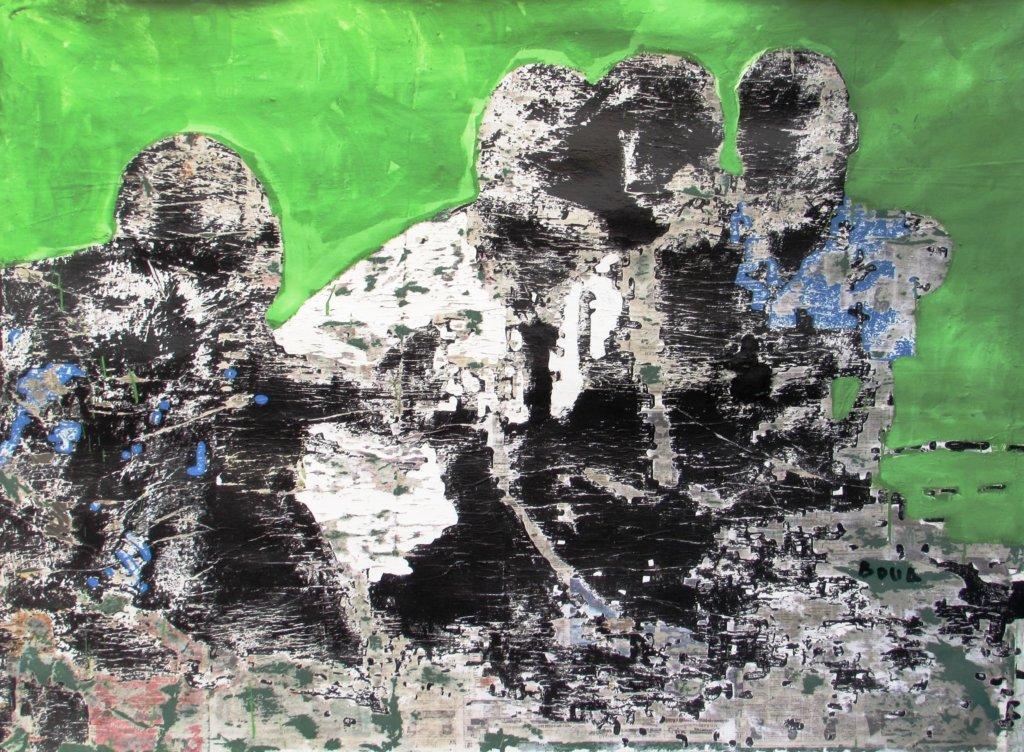 Armand Boua: Les Badès (Les amis), Acrylic & Collage on Canvas, 160 x 219 cm, 2017