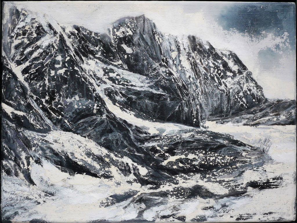 Jens Rausch: Erosionsgebirge, Öl und Kalk auf Leinwand, 30 x -40 cm, 2019.