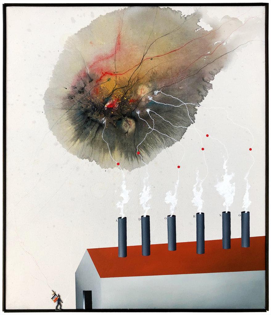 Martin Neumaier: o.T., Öl, Acryl, Buntstift, Letraset und Zinnsoldat auf Nessel, 76 x 66 cm, 2019.