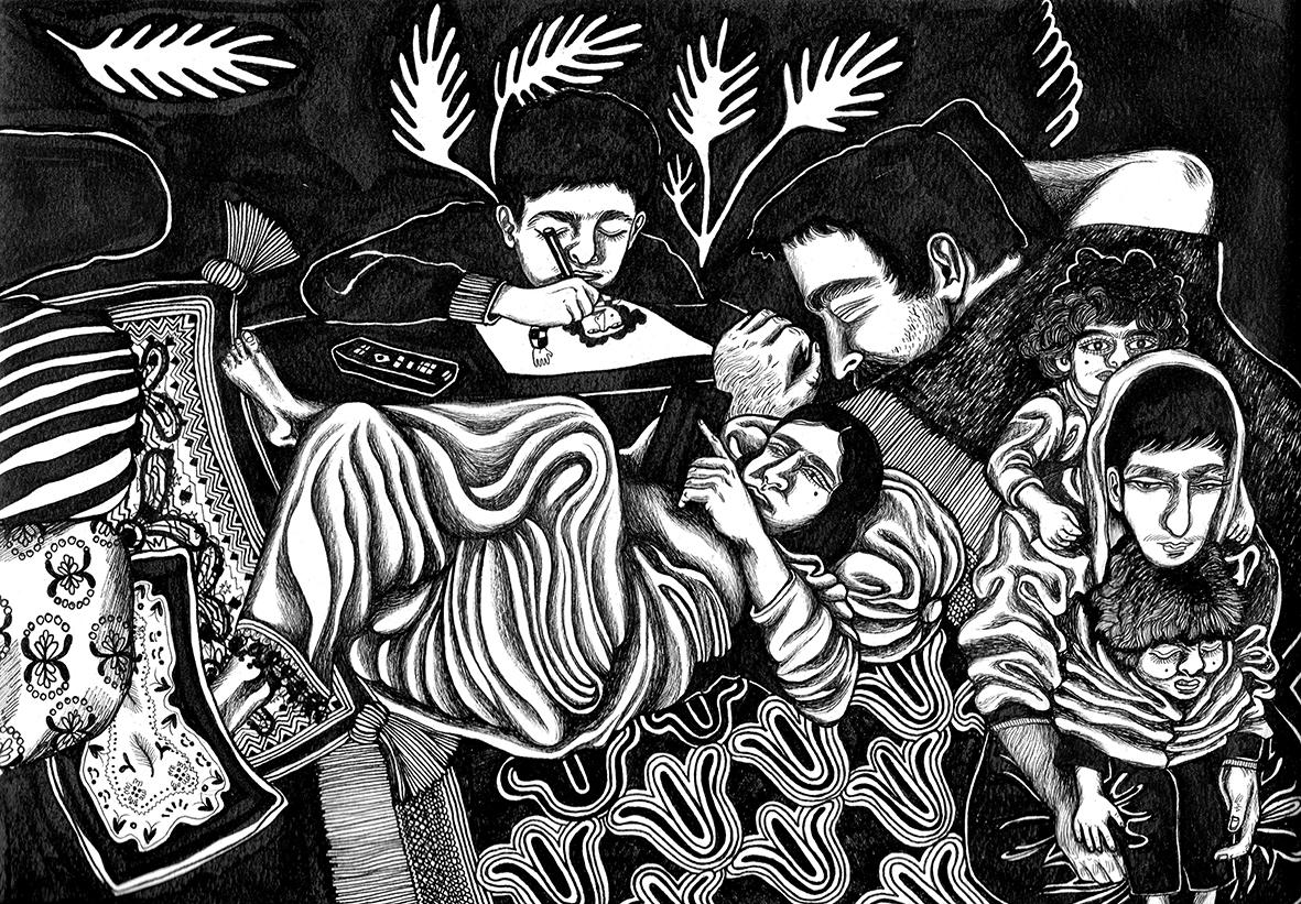 "Moshtari Hilal: Detail  aus ""22360 degree family"", bedruckte Seide, Âme Nue"