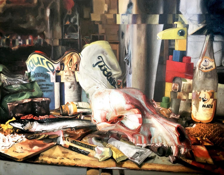 """Diego Palacios """"Stilleben von immer ps"""", 51,5 x 66 cm, Öl auf Leinwand, 2019"""