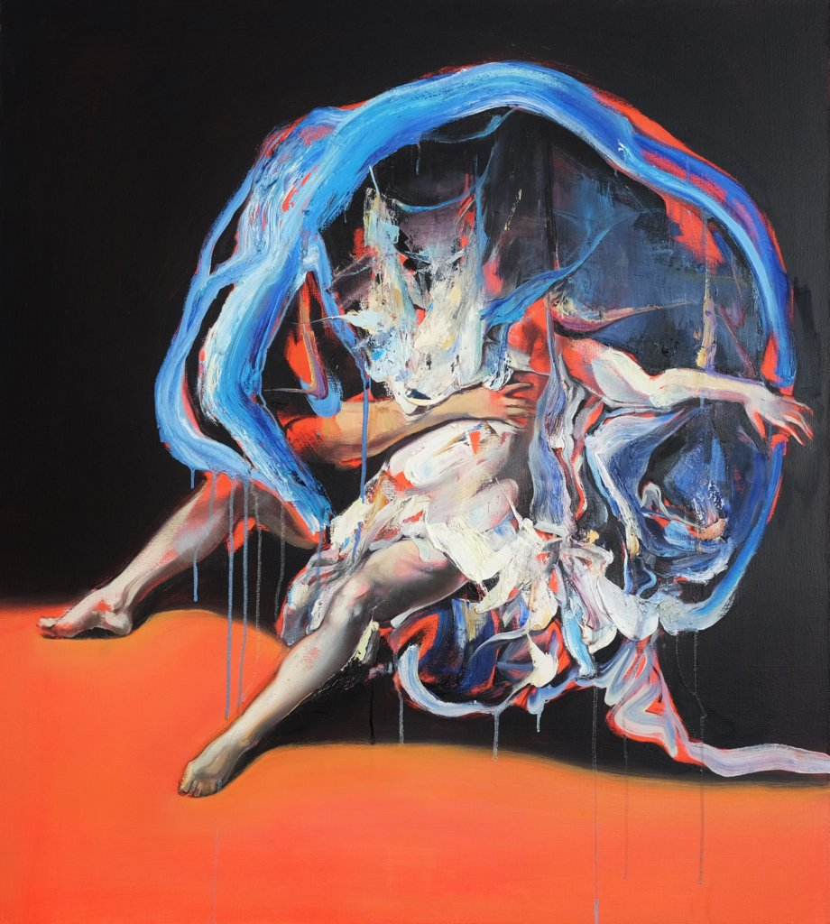 Andreana Dobreva: Leda und der Schwan, Öl auf Leinwand, 90 x 80 cm, 2019 © Andreana Dobreva.