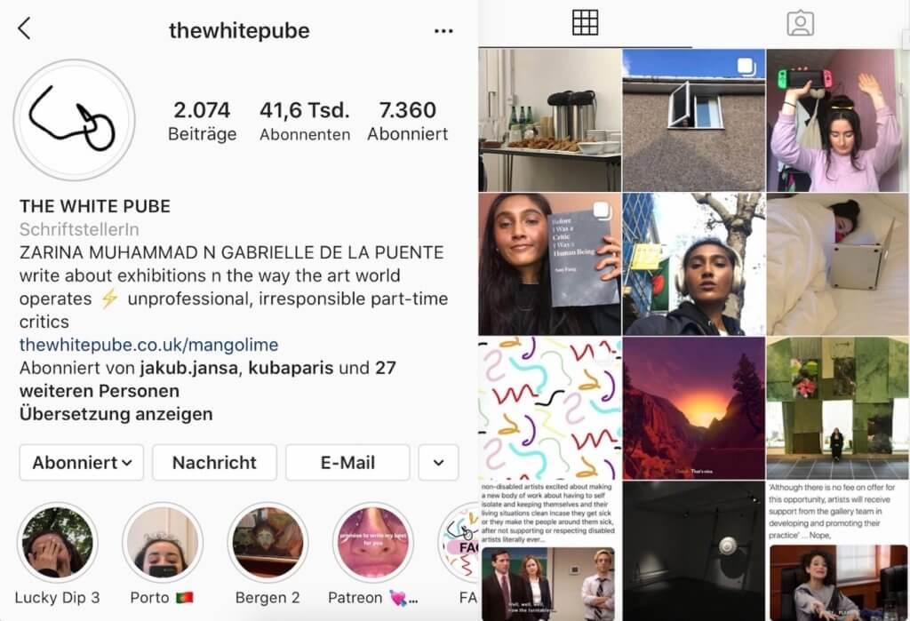 """Screenshot vom Instagram-Account der Kunst-Website """"The White Pube"""". Zu sehen sind die Instagram-Bio sowie 12 Bilder aus dem Feed."""