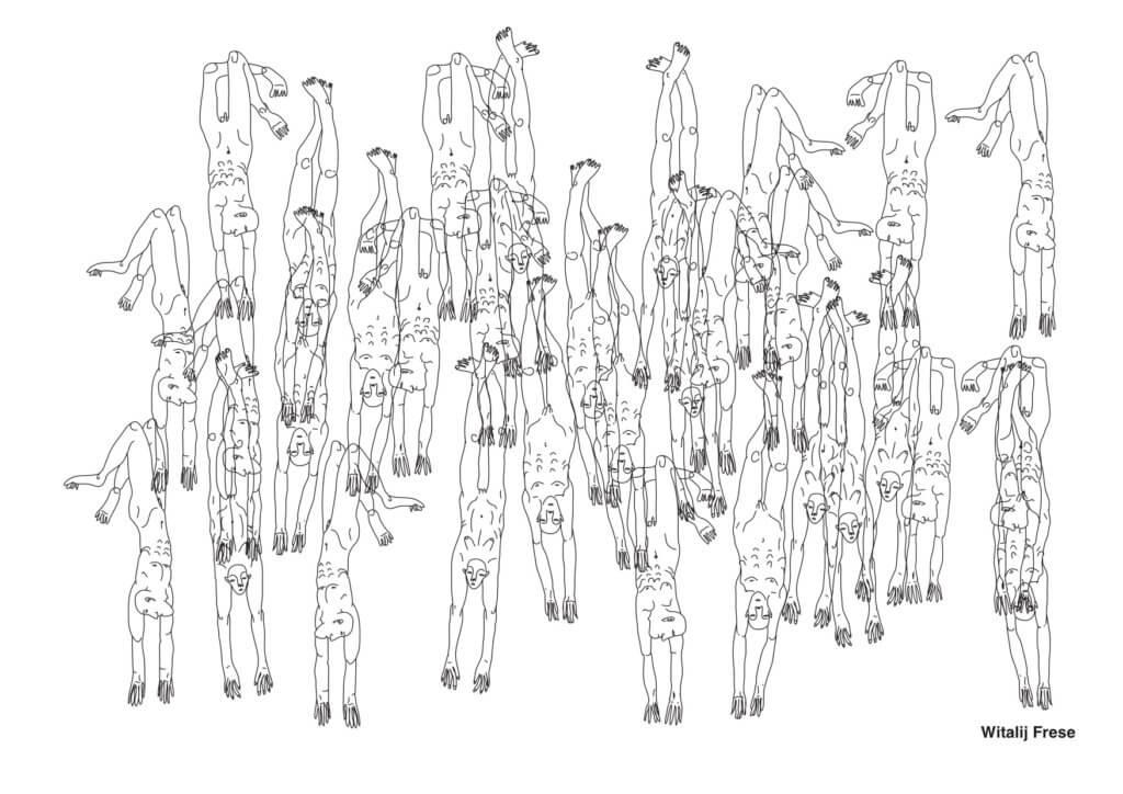 """Die Ausmalvorlage des Künstlers Witalij Frese für das Projekt """"Coloring Quarantine"""" der Galerie Exile zeigt viele überlappende nackte Männerkörper."""