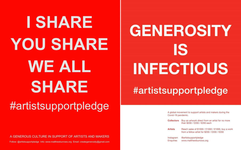 """Screeshots des Instagram-Accounts vom Artist Support Pledge. Links steht """"I share you share we all share"""", rechts """"generosity is infectious""""."""