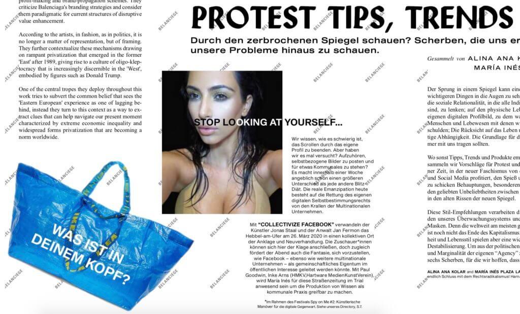 """Einblick in die Zeitung """"Arts of the Working Class"""". Zu sehen sind Text, eine IKEA-Tüte und ein Selfie von Kim Kardashian."""