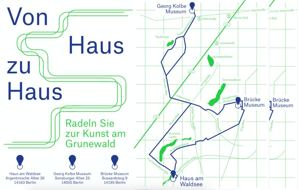 """Eine Karte für die Fahrradstrecke """"Von Haus zu Haus"""". Abgefahren werden das Georg Kolbe Museum, das Brücke Museum und das Haus am Waldsee."""