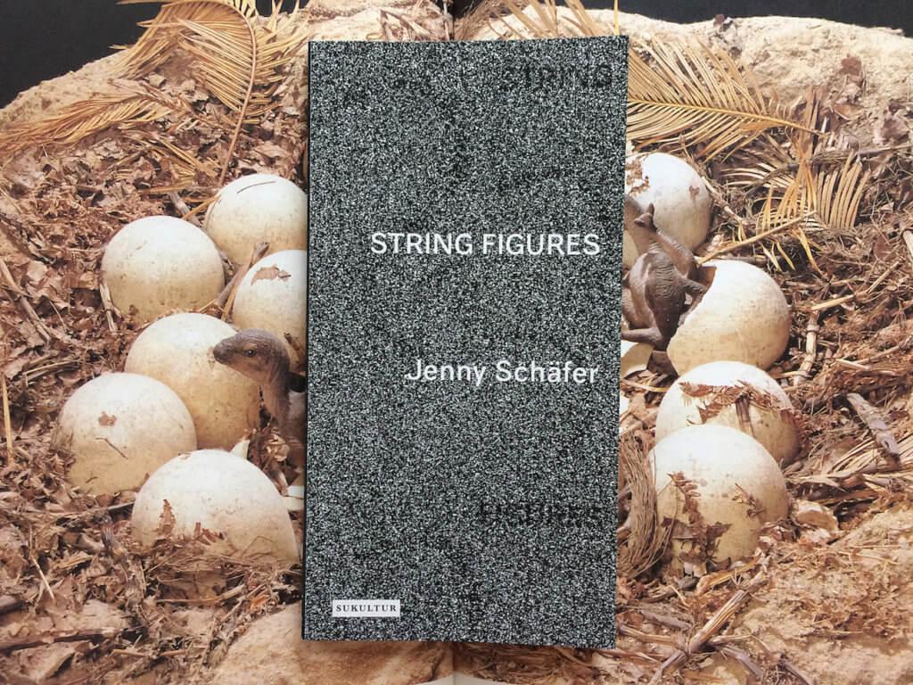 """Das Buch """"String Figures"""" von Jenny Schäfer vor dem Hintergrund eines Nests voller Eier und Dinos."""