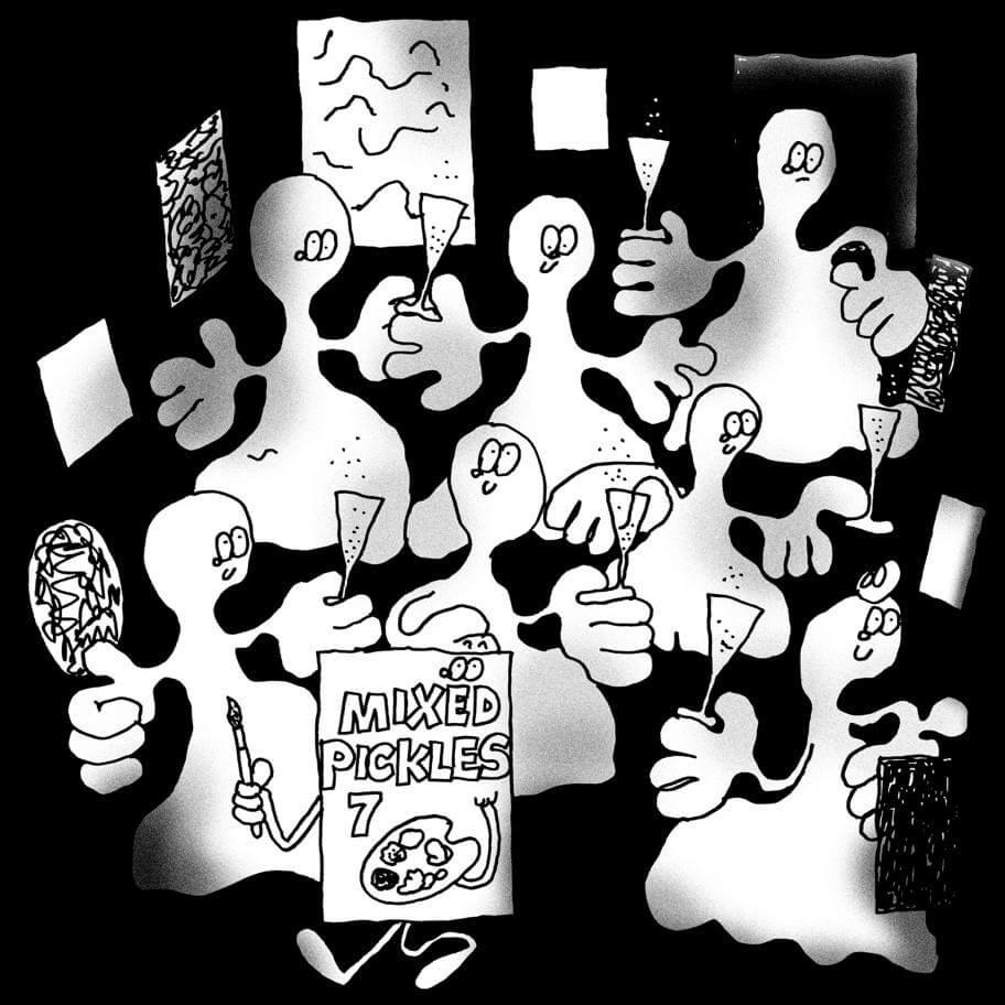 """Die Ausstellungsdankündigung für """"Mixed Pickles 7"""" in der Galerie Ruttkowski;68 in Köln zeigt Gespenster mit Sektglas in der Hand, gemalt von Stefan Marx."""