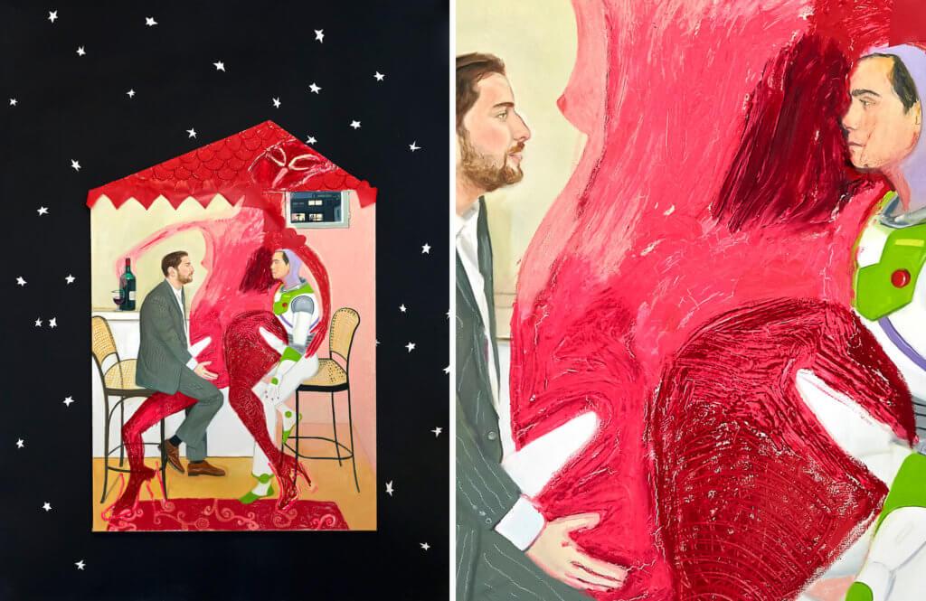 Links ist das rose Interieur eines Hauses zu sehen, indem sich ein öliges weibliches Monster auf zwei Männer, die eine Erketion haben setzt. Rechts ist das Detail.