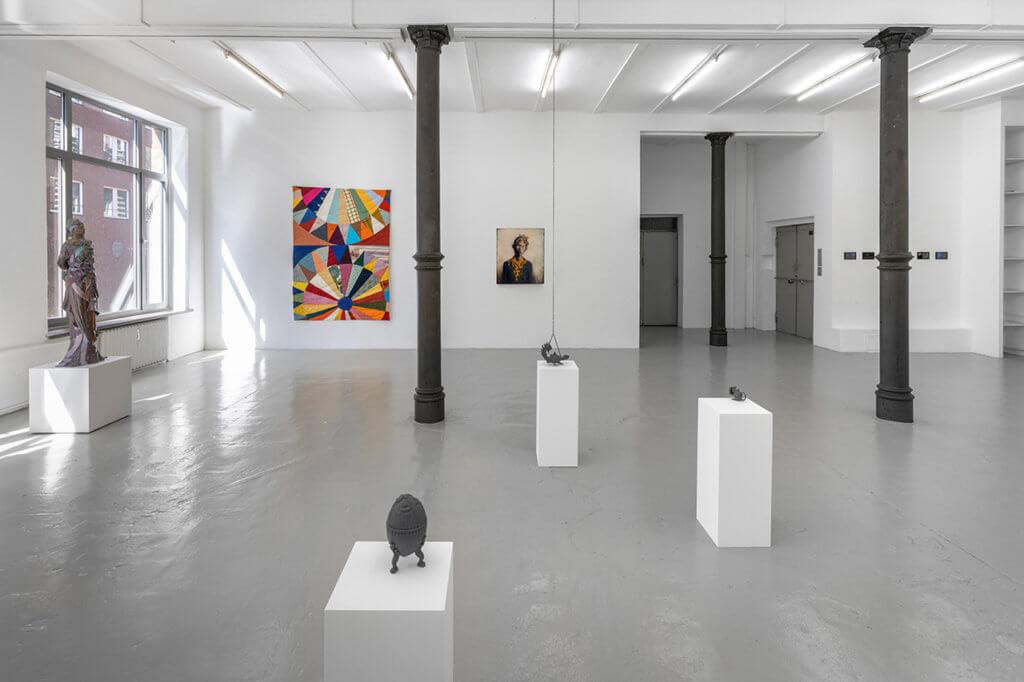 """Ausstellungsansicht """"Group show"""" Produzentengalerie Hamburg, 2020"""