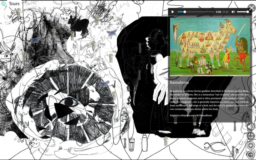 """Ansicht der Online-Ausstellung """"Global Cows"""". Im Hintergrund eins der beiden Online-Fresken in Schwarz-Weiß. Sichtbar sind die Navigation sowie ein Pop-up-Fenster."""