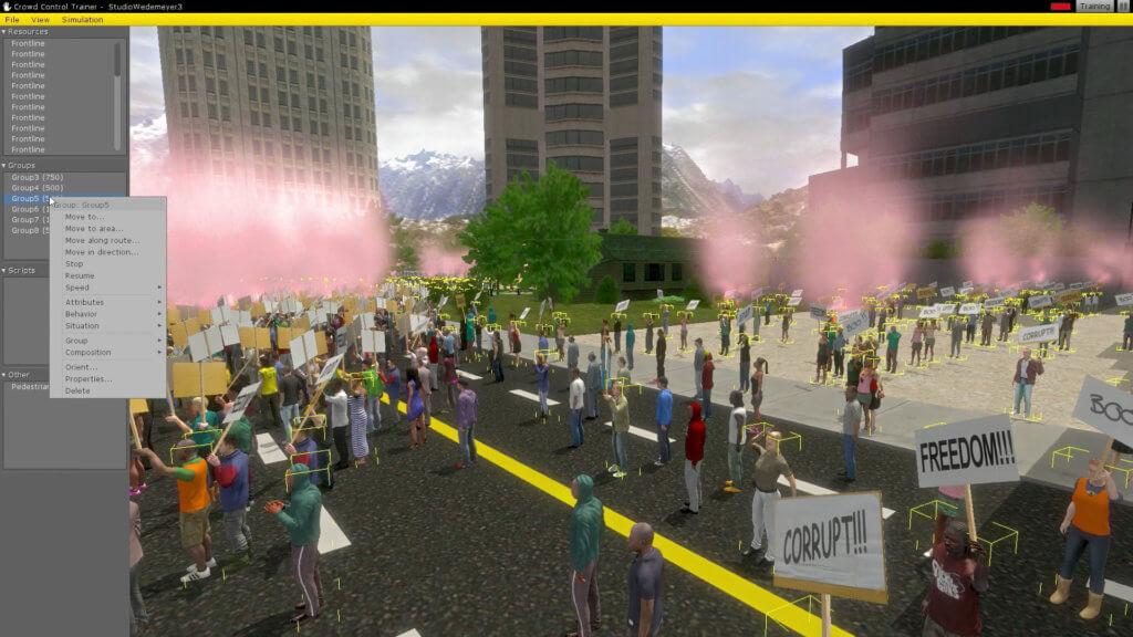 Videoarbeit Clemens von Wedemeyer. Zu sehen sind virtuelle Demonstrierende vor der Kulisse von Hochhäusern und Bergen.