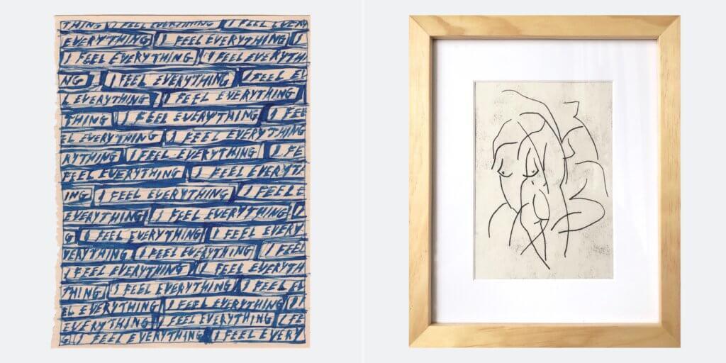 """Arbeiten der Künstlerinnen Daisy Parris und Emma Fineman, die die Londoner Guts Gallery im Rahmen der Aktion """"Guts Claps Back"""" verkauft hat."""