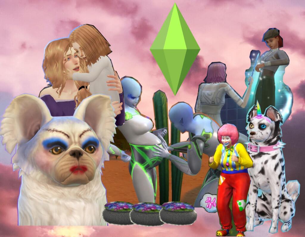 Collage verschiedener bunter Sims-Figuren, darunter ein geschminkter Hunt, ein Clown und ein schwangerer Alien.