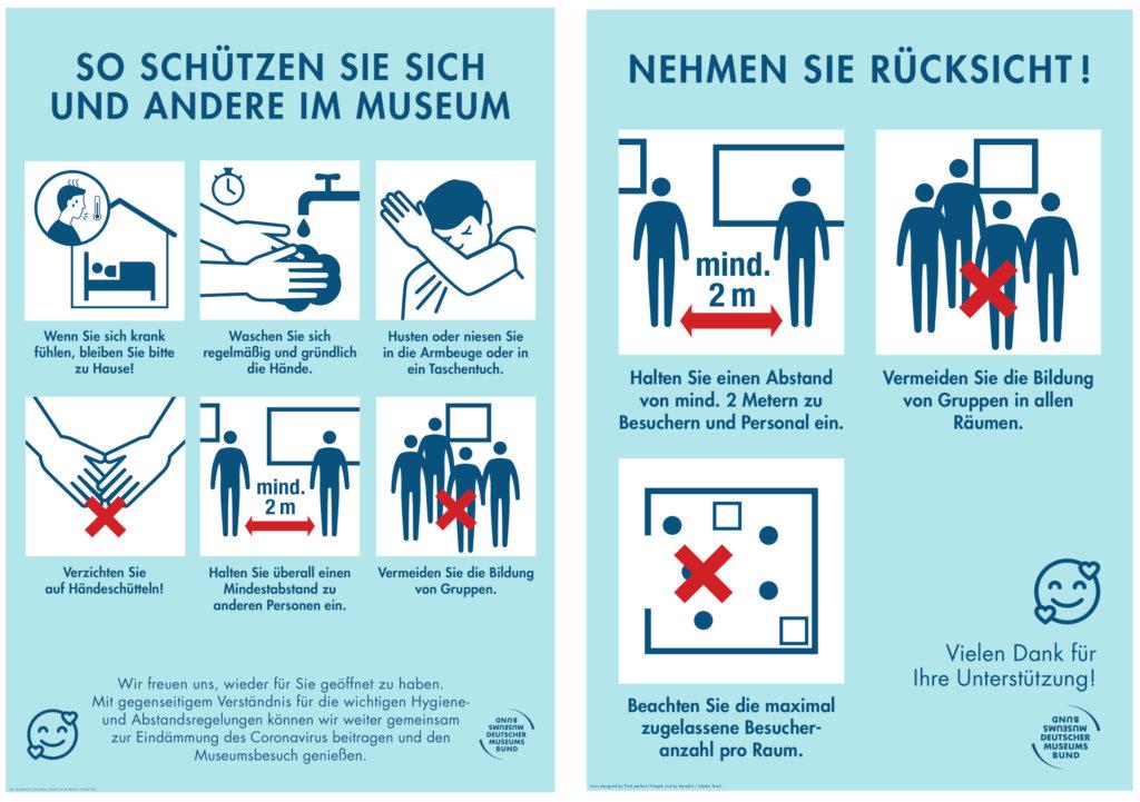 Hygieneregeln und Abstandsregeln des Deutschen Museumsbunds mit Grafiken illustriert