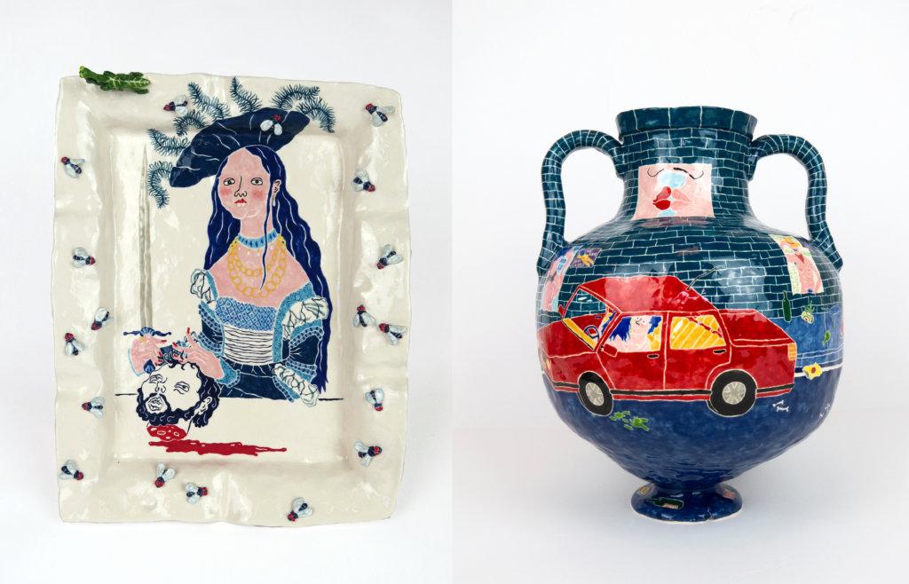 """Links """"Judith mit dem Kopf des Holofernes"""" Aschenbecher. Rechts eine Abbildung einer dunkelblauen Vase mit rotem Auto der Künstlerin Katy Stubbs."""