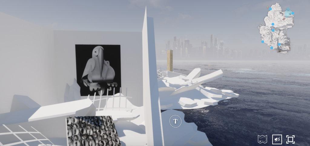 """Ansicht der Online-Ausstellung """"End Demo"""" der EPOCH gallery. Zu sehen ist eine Art weiße Insel mit Arbeiten von Kara Joslyn und Emanuel Röhss. Im Hintergrund zeichnet sich eine Skyline ab."""