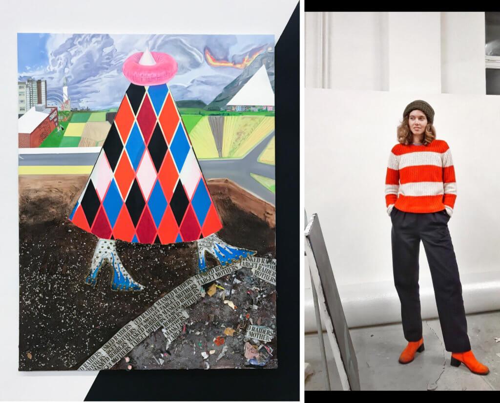 """Links ist ein kopfloser Harlekin zu sehen, ein Gemälde mit dem Titel """"La femme Montagne qui monte"""", rechts ein Portrait der Künstlerin Madeleine Roger-Lacan."""