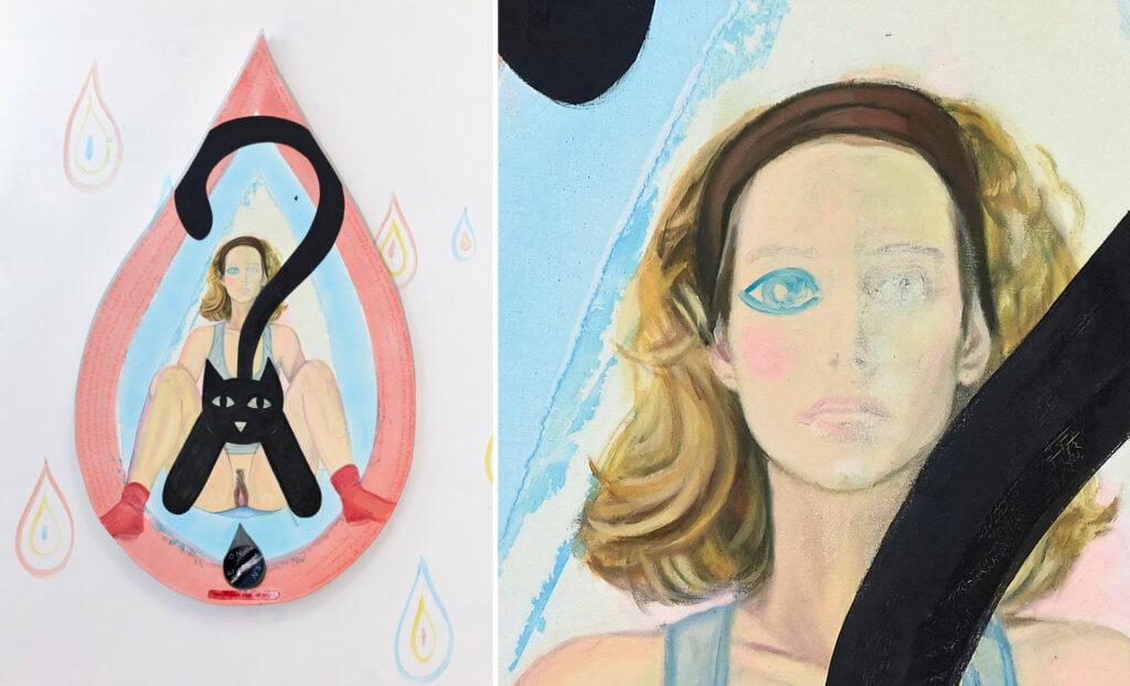 Links ist ein Bild in Form eines Tropfen mit dem Selbstbildnis von Madeleine Roger-Lacan vor deren nacktem Körper eine schwarze Katze sitzt.