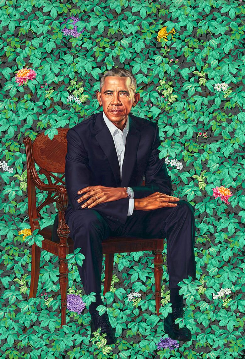 Das Präsidentenportrait von Kehinde Wiley zeigt barack Obama auf einem Stuhl vor Pflanzen