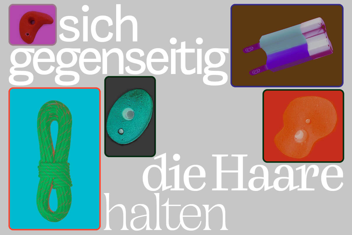"""Eventflyer für Ausstellung """"sich gegenseitig die Haare halten"""""""