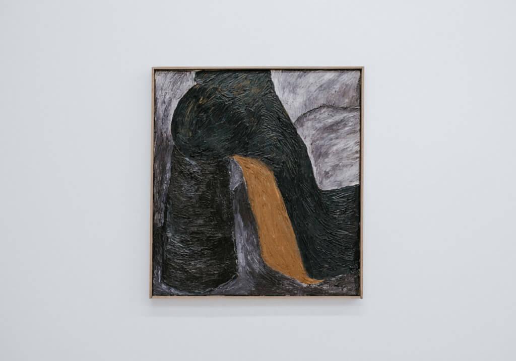 Gemälde mit einem grünen Plateauschuh und beiger Sohle