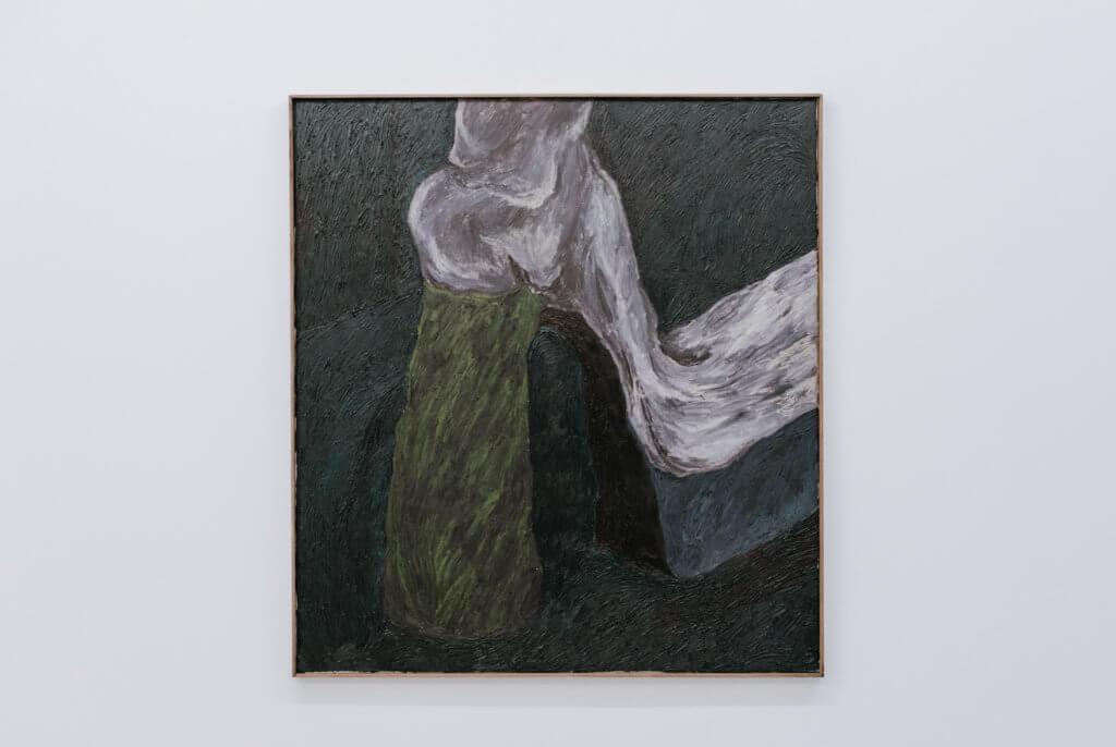 Gemälde eines weißen Plateauschuhs mit blauer Sohle.