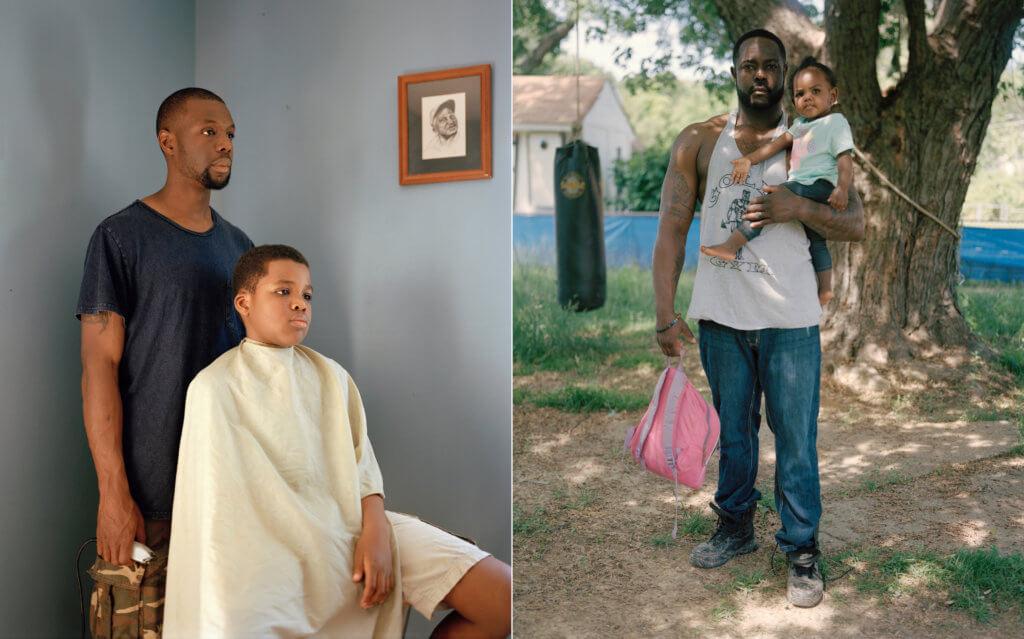 Zwei Arbeiten des Fotografen Larry W. Cook. Links ein Vater mit seinem Sohn, rechts ein Vater mit seiner kleinen Tochter auf dem Arm.