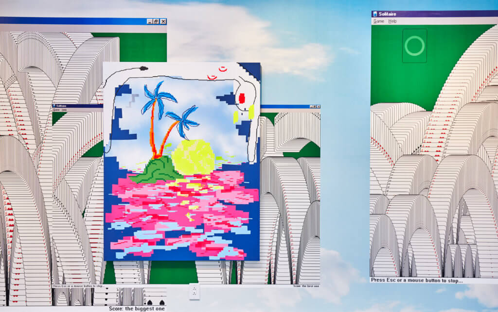 """Ausstellungsansicht """"DEAL AGAIN!"""" bei Balkan Projects. Zu sehen ist eine Malerei in Pixel-Optik der Künstlerin Maja Djordjevic."""