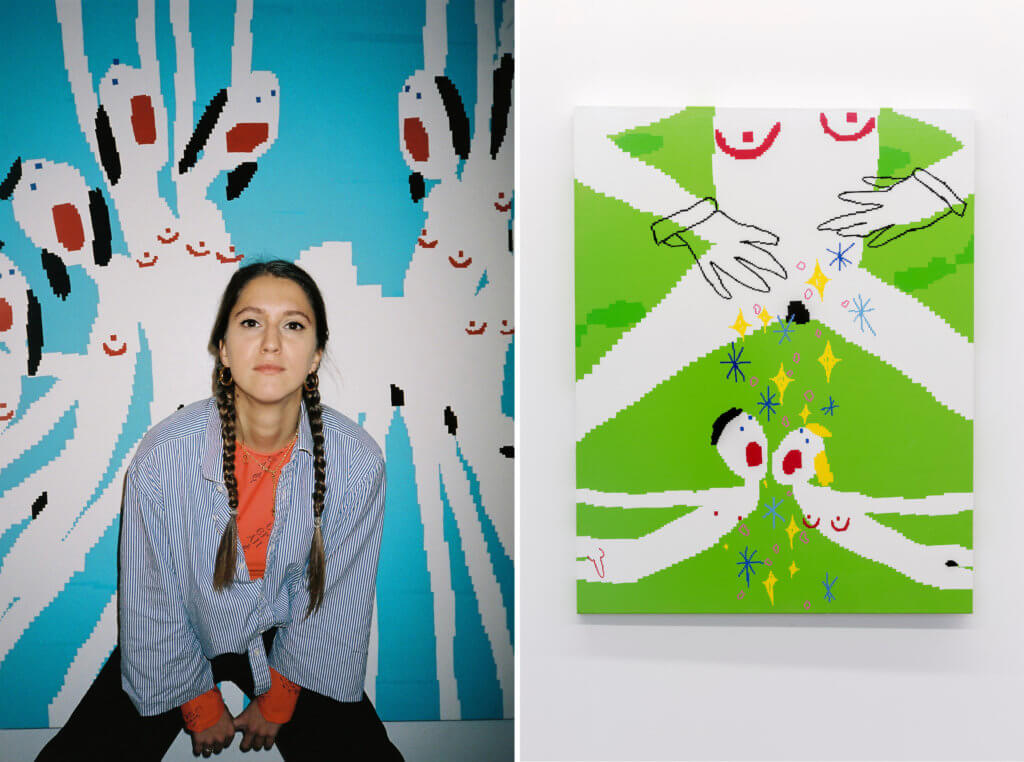 Links: Die Künstlerin Maja Djordjevic vor einer Malerei. Rechts: eine Malerei von Maja Djordjevic. Auf grünem Hintergrund zu sehen sind drei ihrer nackten Pixel-Figuren.