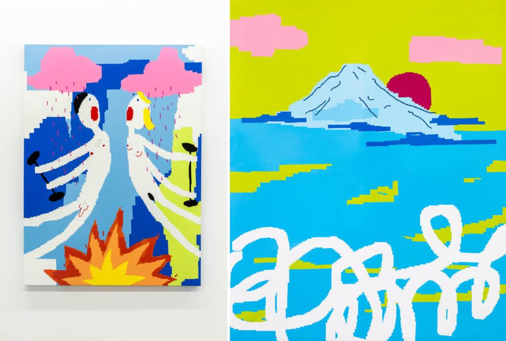 Zwei Arbeiten der Künstlerin Maja Djordjevic. Links zwei nackte Figuren mit Hanteln in der Hand, rechts ein Berg im Meer.