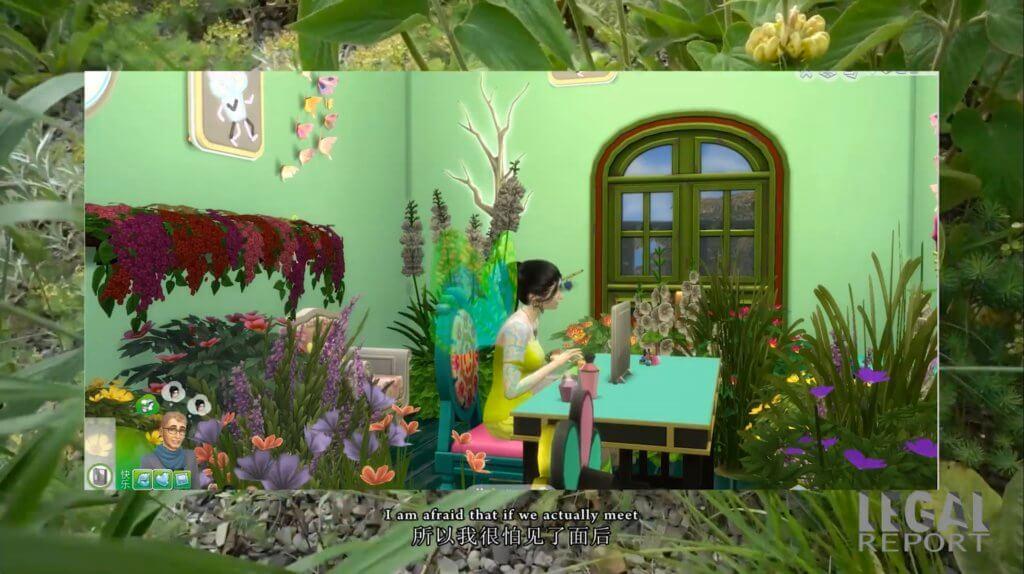 Eine Sim-Frau sitzt inmitten von Blumen an einem Computer und chattet.