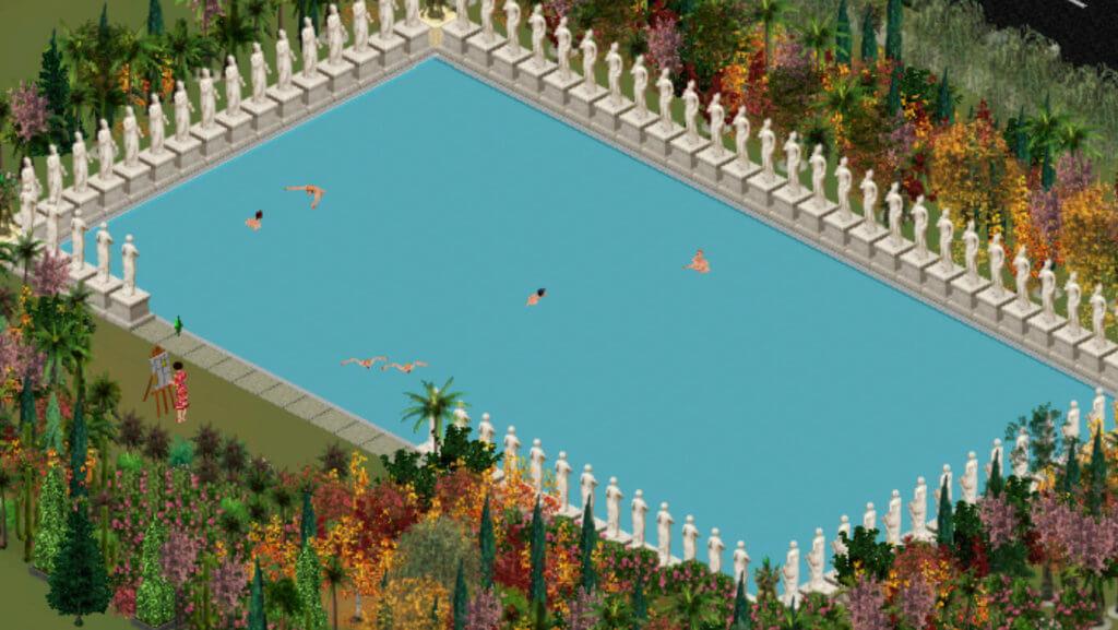 Ein Swimming-Pool voller Sims, daneben eine Frau, die an einer Staffelei malt.