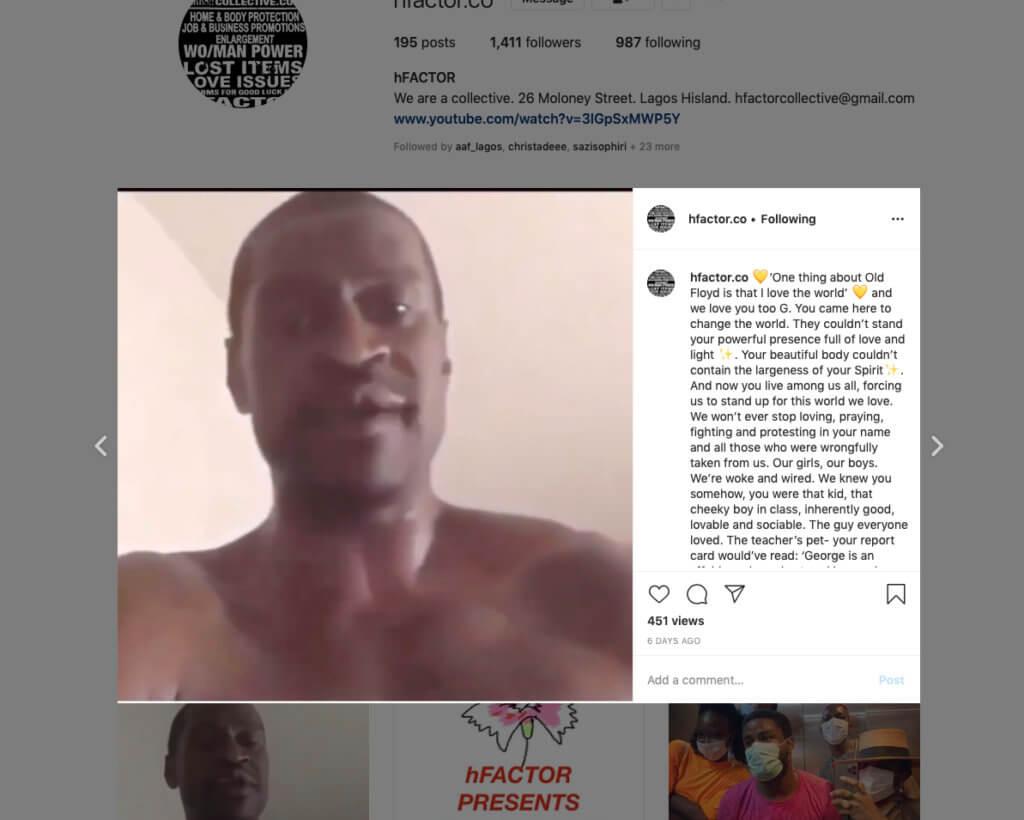 Ein Screenshot vom Instagram-Profil des hFACTOR Kollektivs aus Lagos zeigt George Floyd.