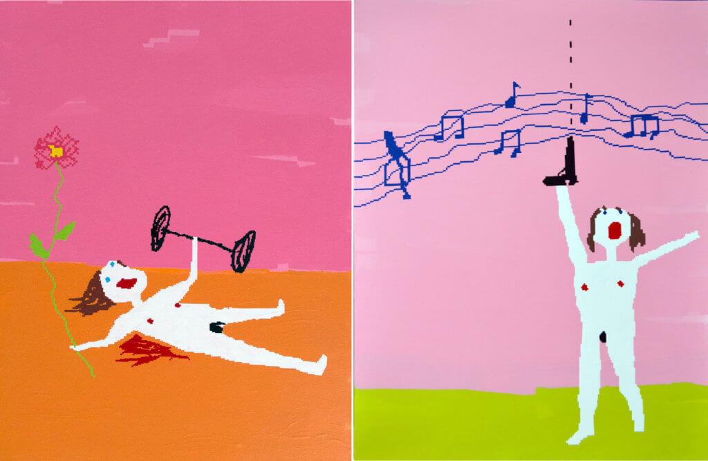 Zwei Arbeiten der Künstlerin Maja Djordjevic. Links eine nackte Figur mit Hantel und Blume in den Händen, rechts eine nackte Figur mit Pistole in einer Hand.