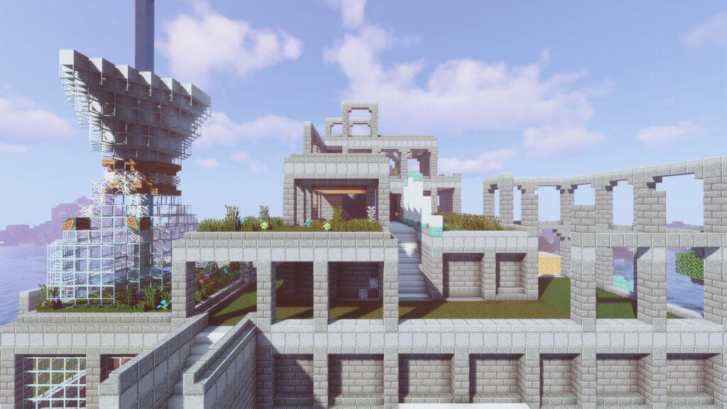 Steingebäude als Installation bei Mindcraft