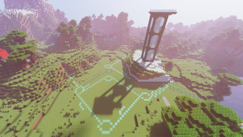 Turm auf Wiese in Mindcraft