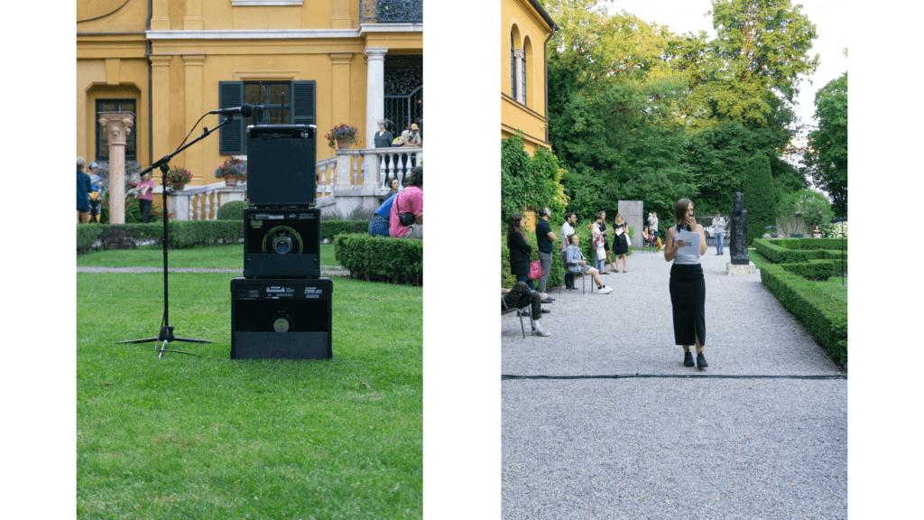 Links die Installation von Kalas Liebfried, rechts sieht man eine Performerin, die in ein Mikrofon spricht.
