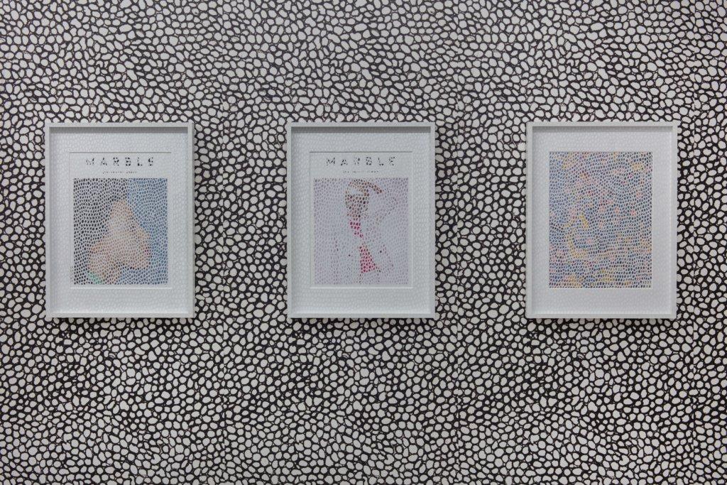 Ansicht dreier Bilder vor monochromer Wand.