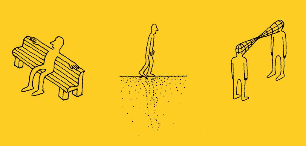 Zu sehen sind Zeichnungen auf gelbem Grund. Man sieht die Figur eines Mannes sitzen, gehend und zwei Personen im Austausch.