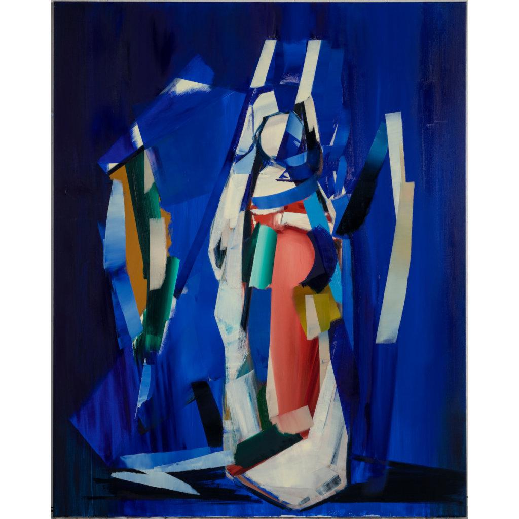 abstraktes Bild in überwiegend Blautönen