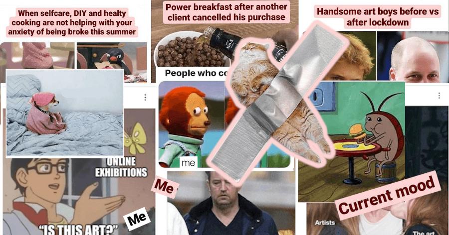 Collage verschiedener Memes mit Kunstbezug.