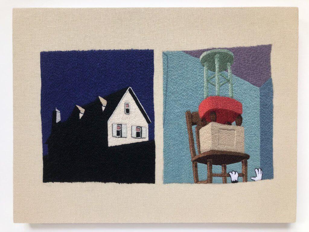 Stickerei von Peter Frederiksen. Links: ein Haus bei Nacht. Rechts: verschiedene Gegenstände auf einem braunen Holzstuhl gestapelt.